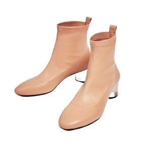 Zara Nude Sock Clear Lucite Heel Boot - Size 39